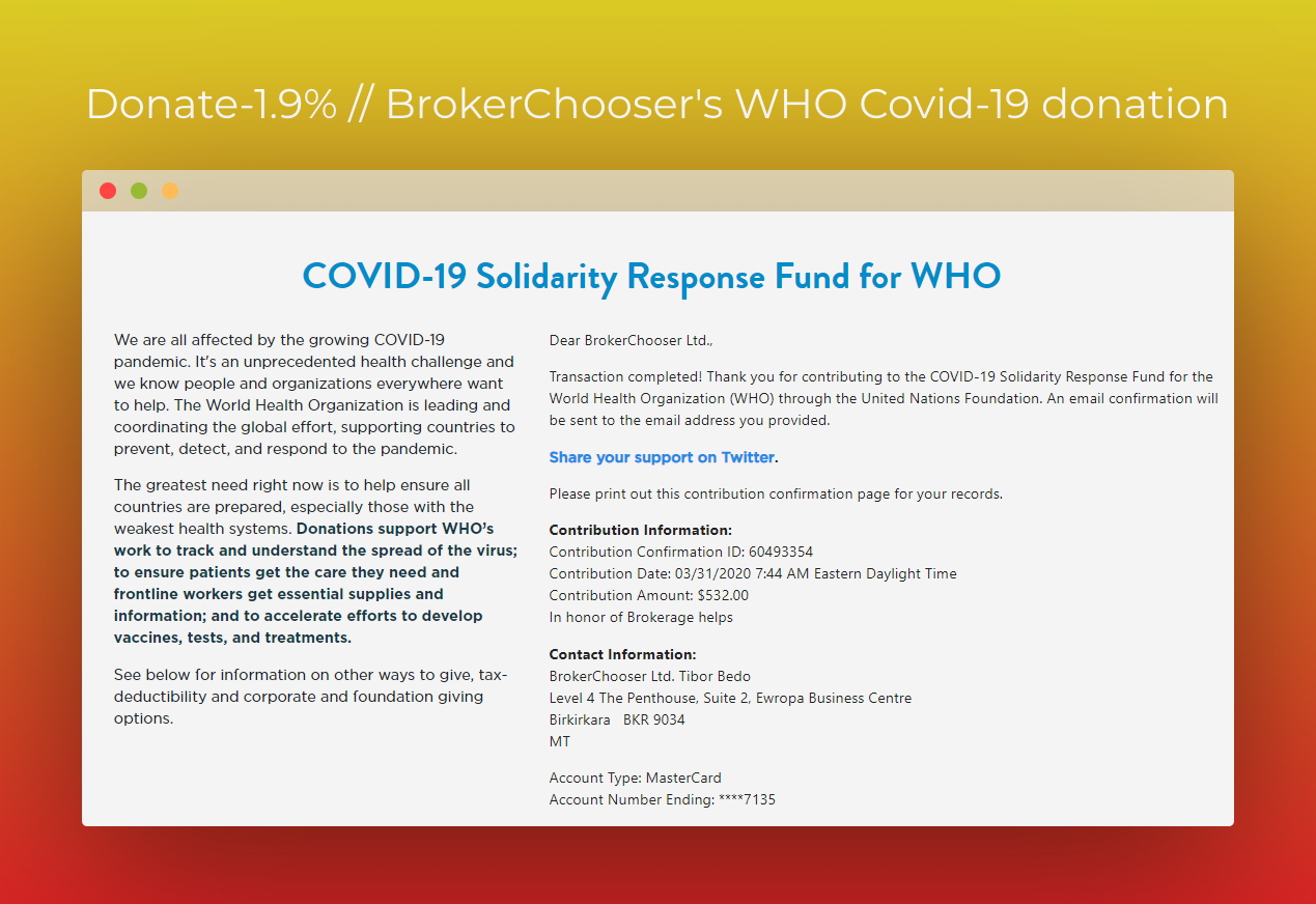 #brokeragehelps - Donating 1.9% to fight Covid-19