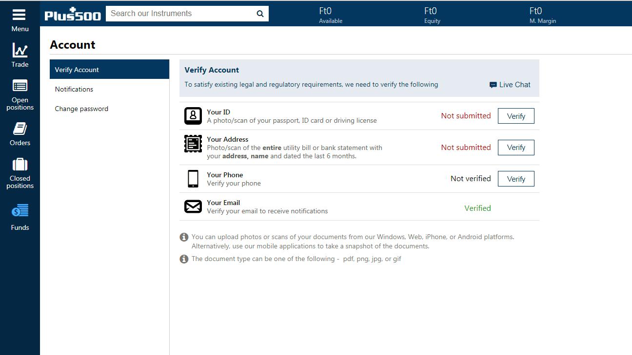 Plus500 review - Account open - verification