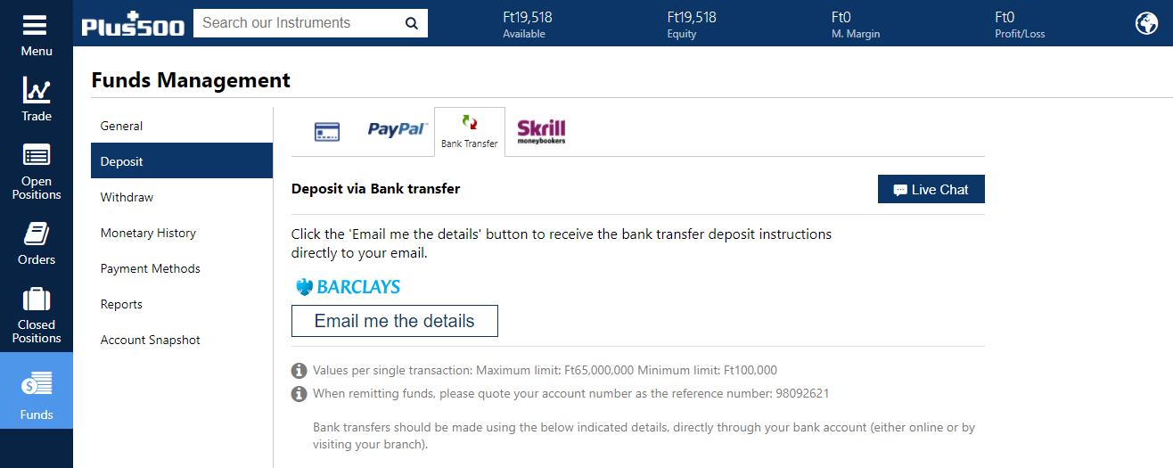 Plus500 review - Money transfer