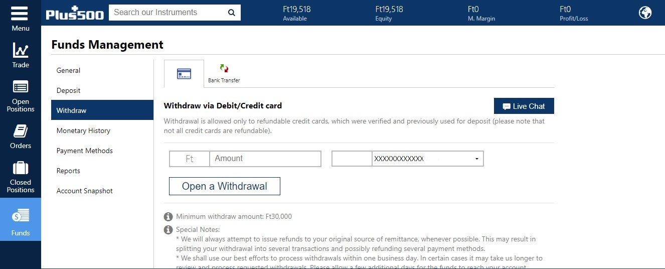 Plus500 review - Withdrawal