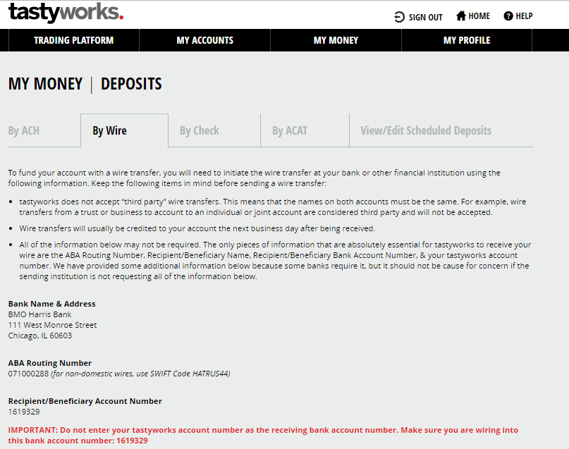 Tastyworks review - Money deposit