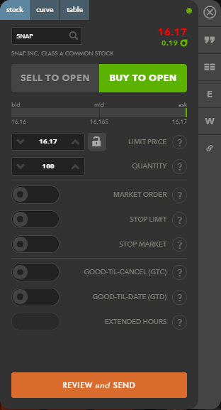 Tastyworks review - Web trading platform - stock trading panel