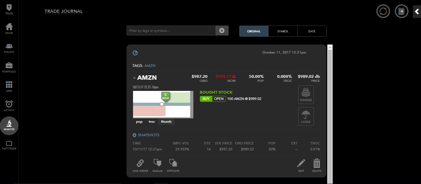 Tastyworks review - Web Trading platform - Trade journal