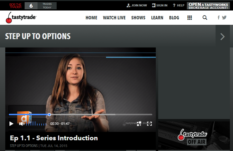 Tastyworks review - tastytrade - Step up to options