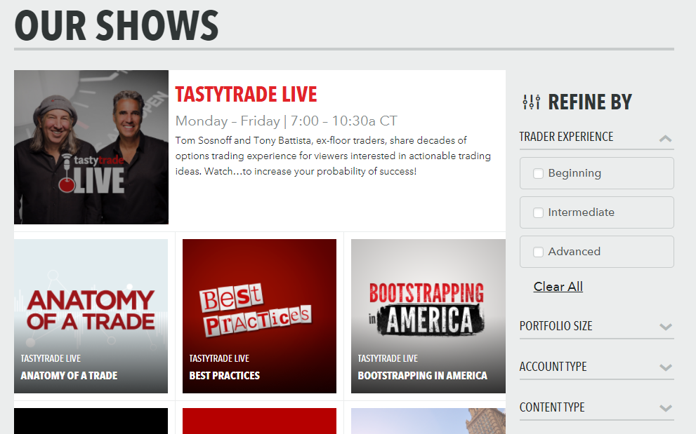 Tastyworks review - tastytrade channels