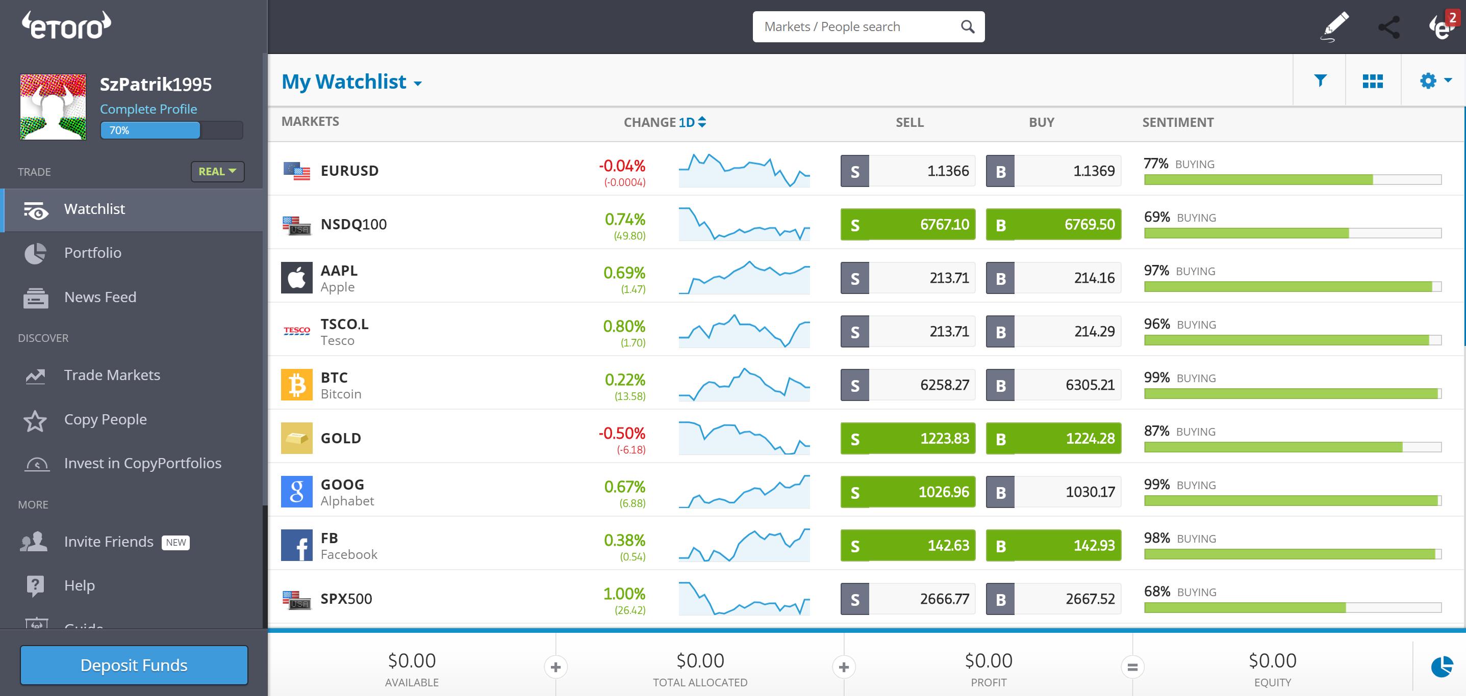 Best trading platform for Europeans - Etoro - Web trading platform