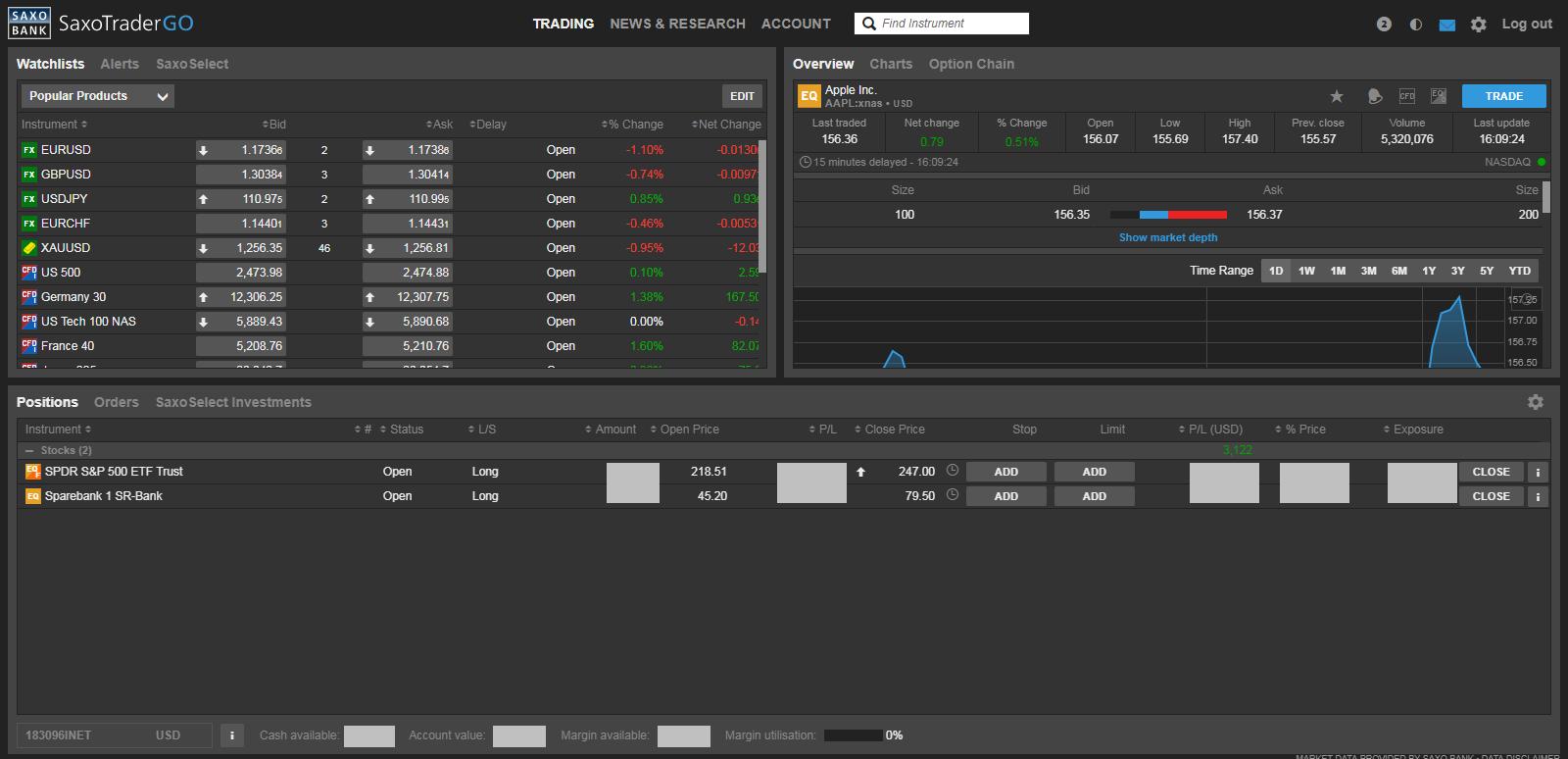 Saxo bank trading platform