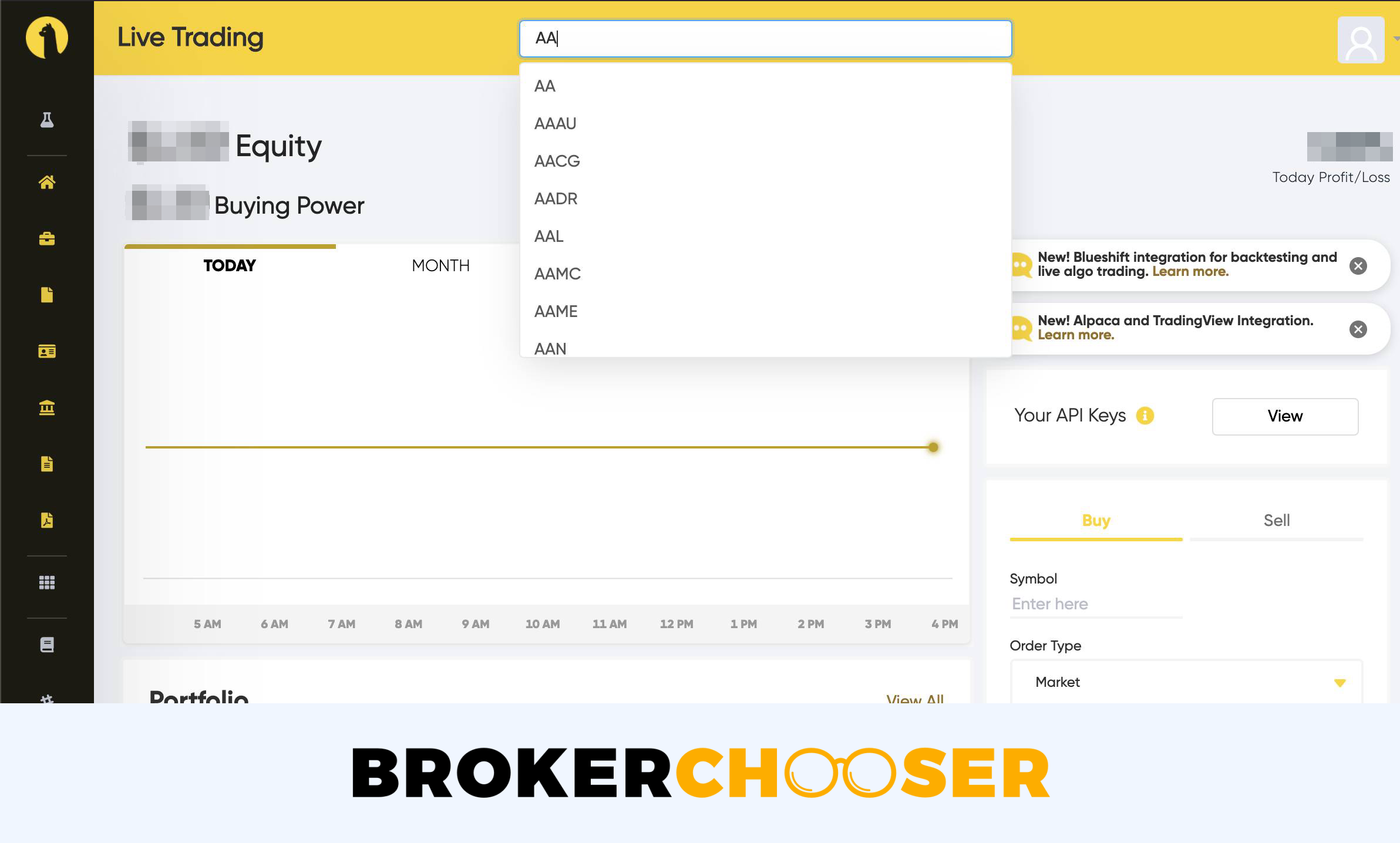 Alpaca Trading review - Web trading platform - Search