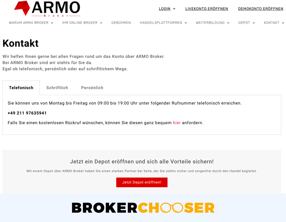 ARMO Broker review - Customer Service