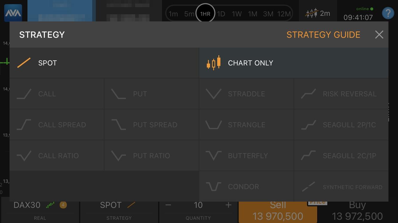 AvaTrade review - Mobile trading platform - Strategies panel