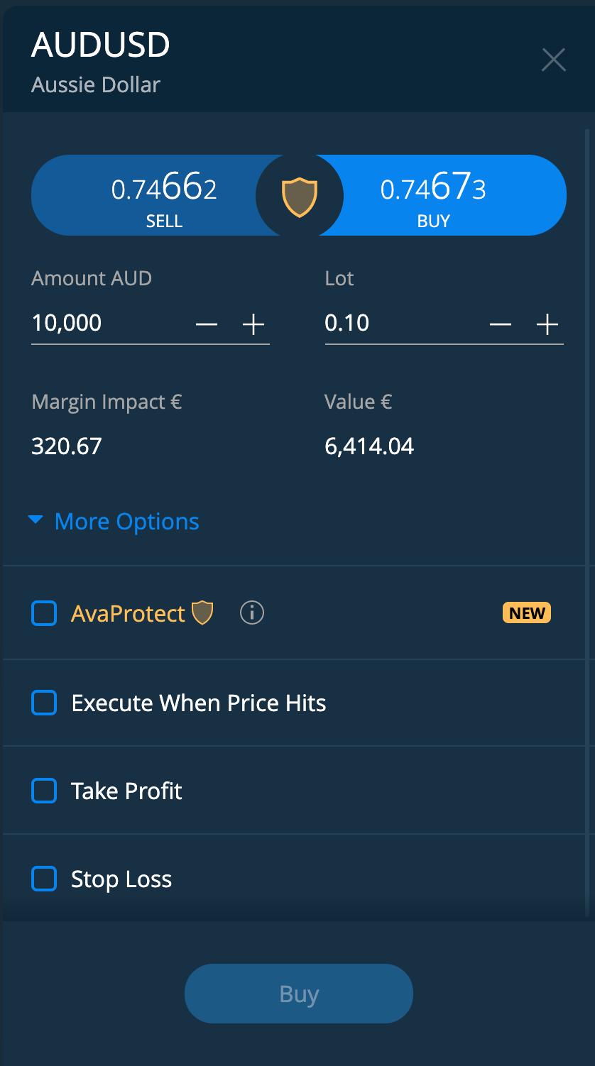 AvaTrade review - Web trading platform - Order panel
