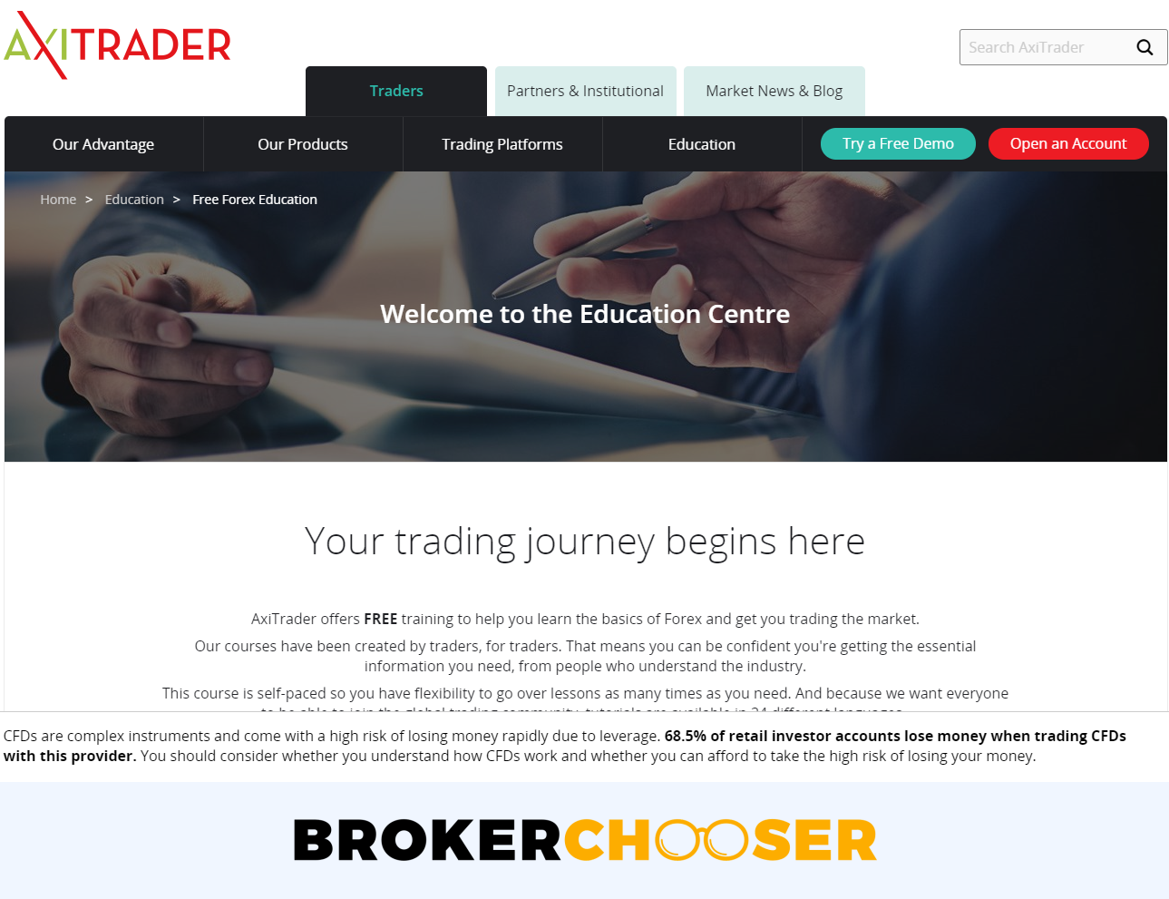 AxiTrader review - Education