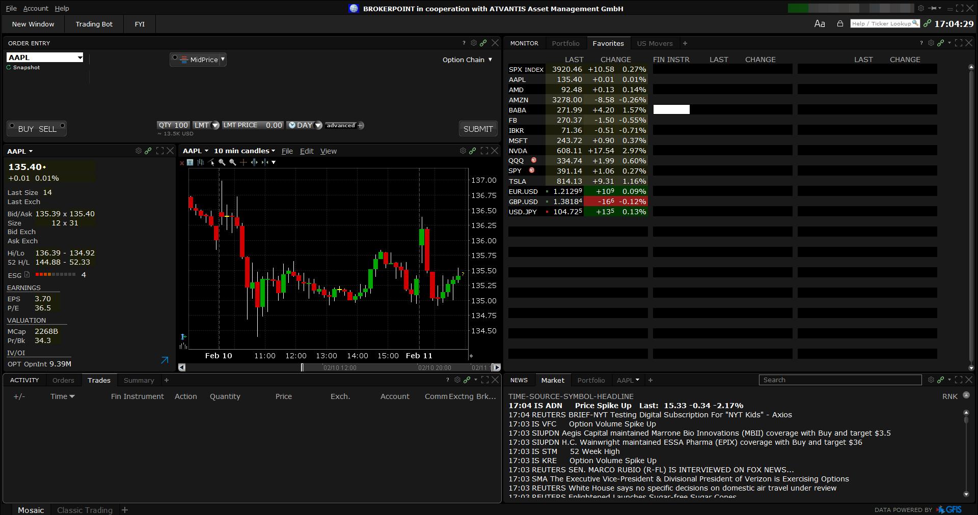 Brokerpoint review - Desktop trading platform