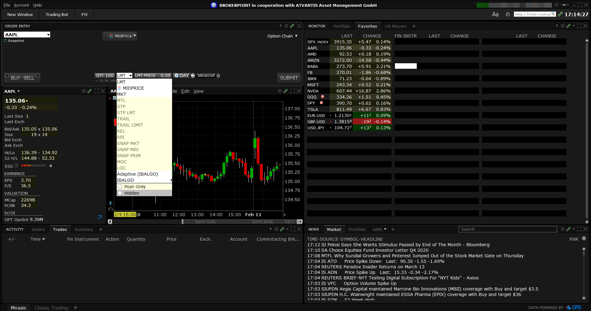 Brokerpoint review - Desktop trading platform - Order panel