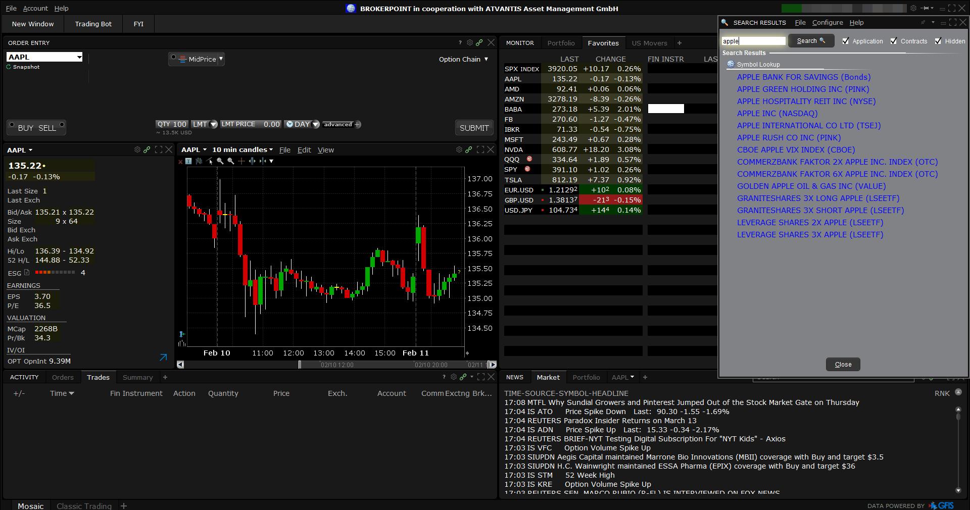 Brokerpoint review - Desktop trading platform - Search