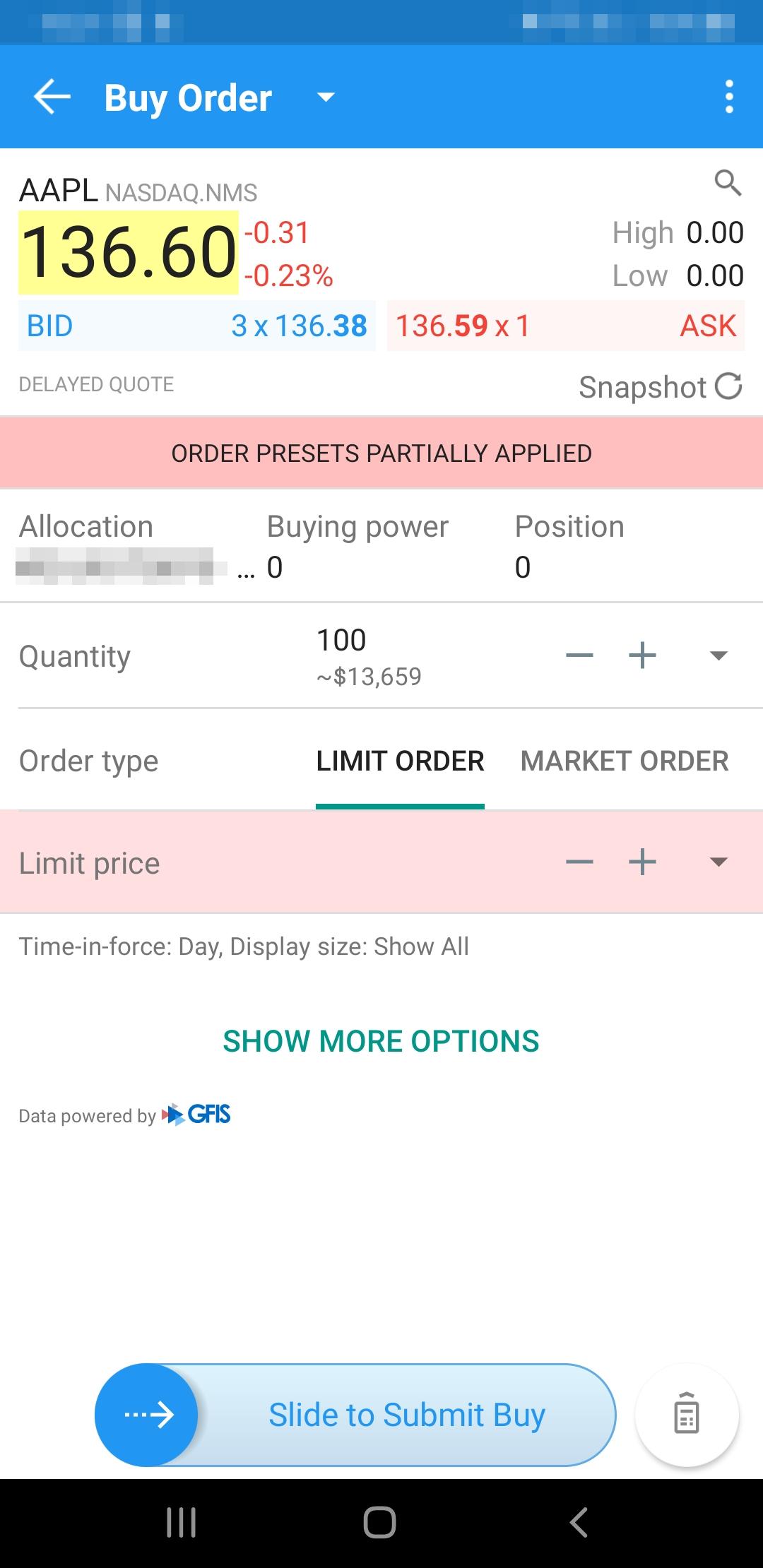 Brokerpoint review - Mobile trading platform - Order panel