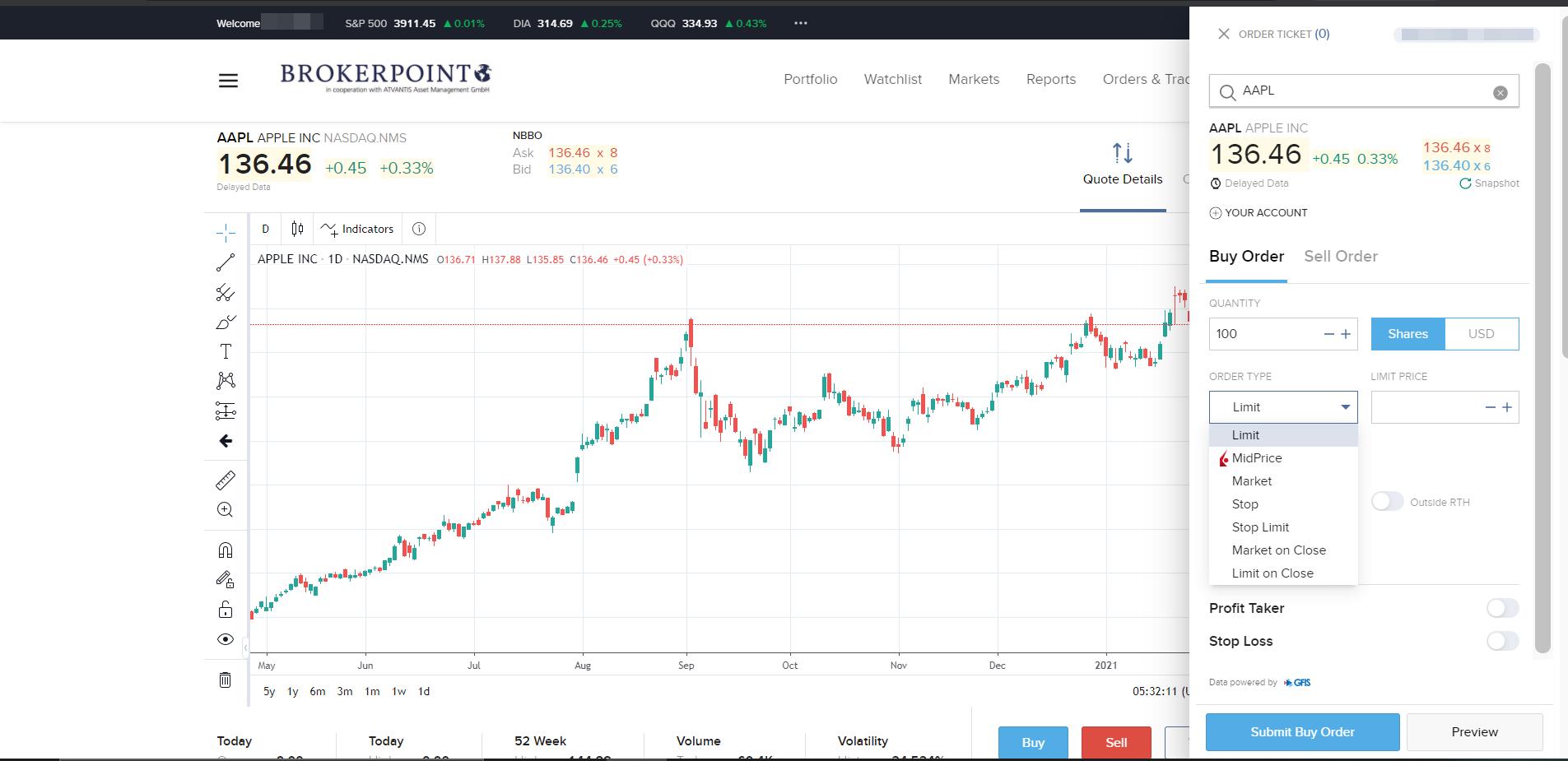 Brokerpoint review - Web trading platform - Order panel