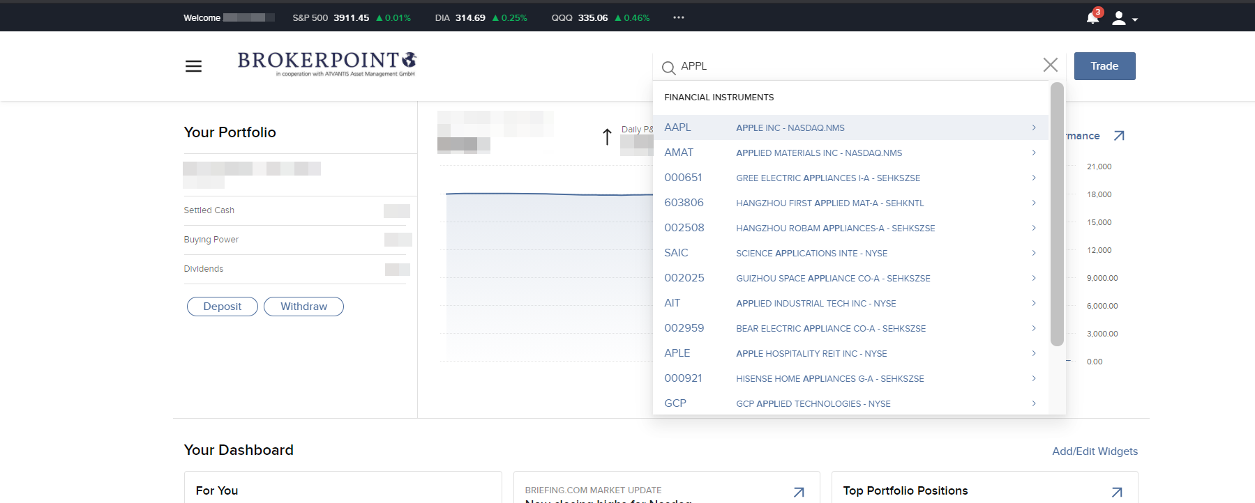 Brokerpoint review - Web trading platform - Search