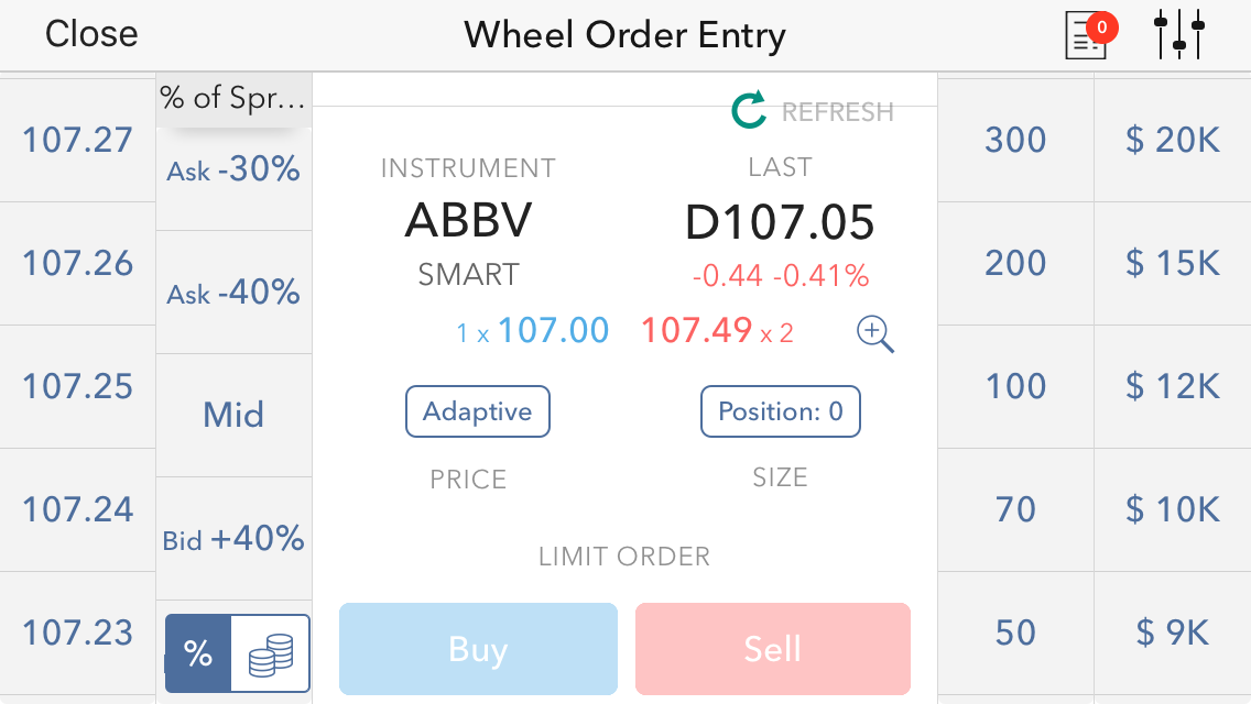 CapTrader review - Mobile trading platform - Order panel