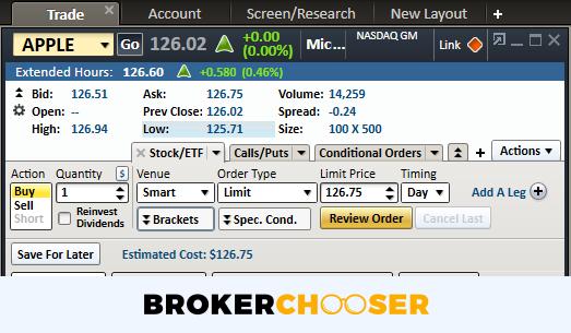 Charles Schwab review - Desktop trading platform - Order panel