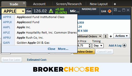Charles Schwab review - Desktop trading platform - Search