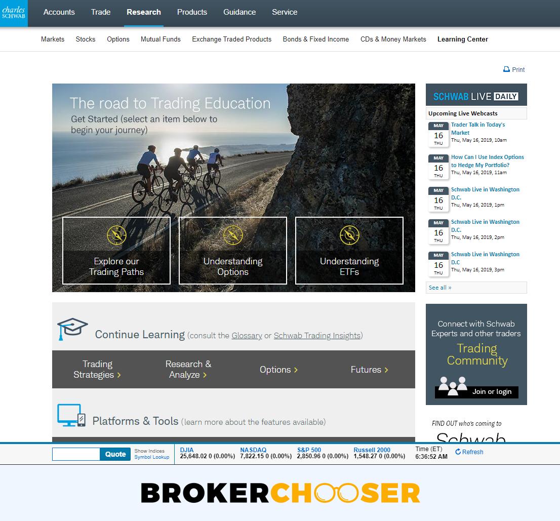 Best brokers for beginners - Charles Schwab education
