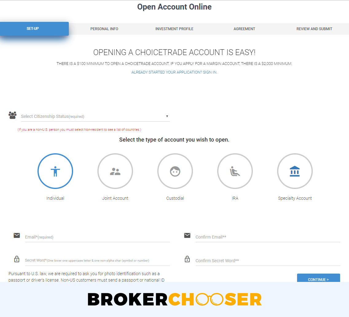 ChoiceTrade review - Account opening