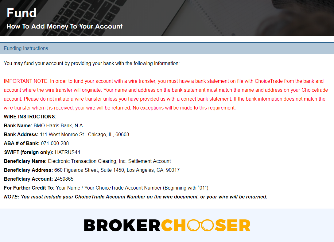 The interface to send the minimum deposit to ChoiceTrade
