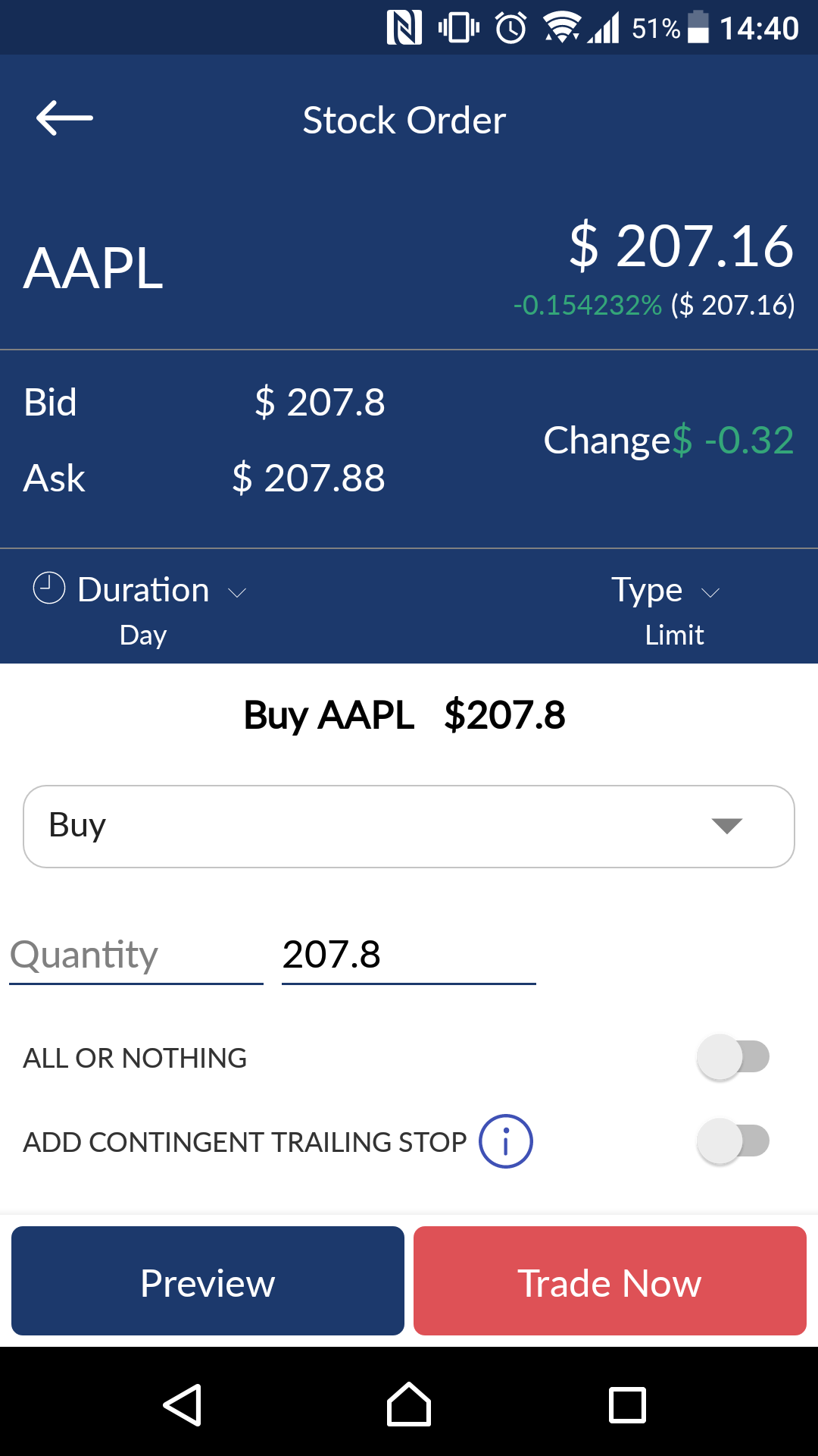ChoiceTrade review - Mobile trading platform - Order panel