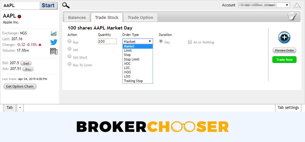ChoiceTrade review - Web trading platform - Order panel