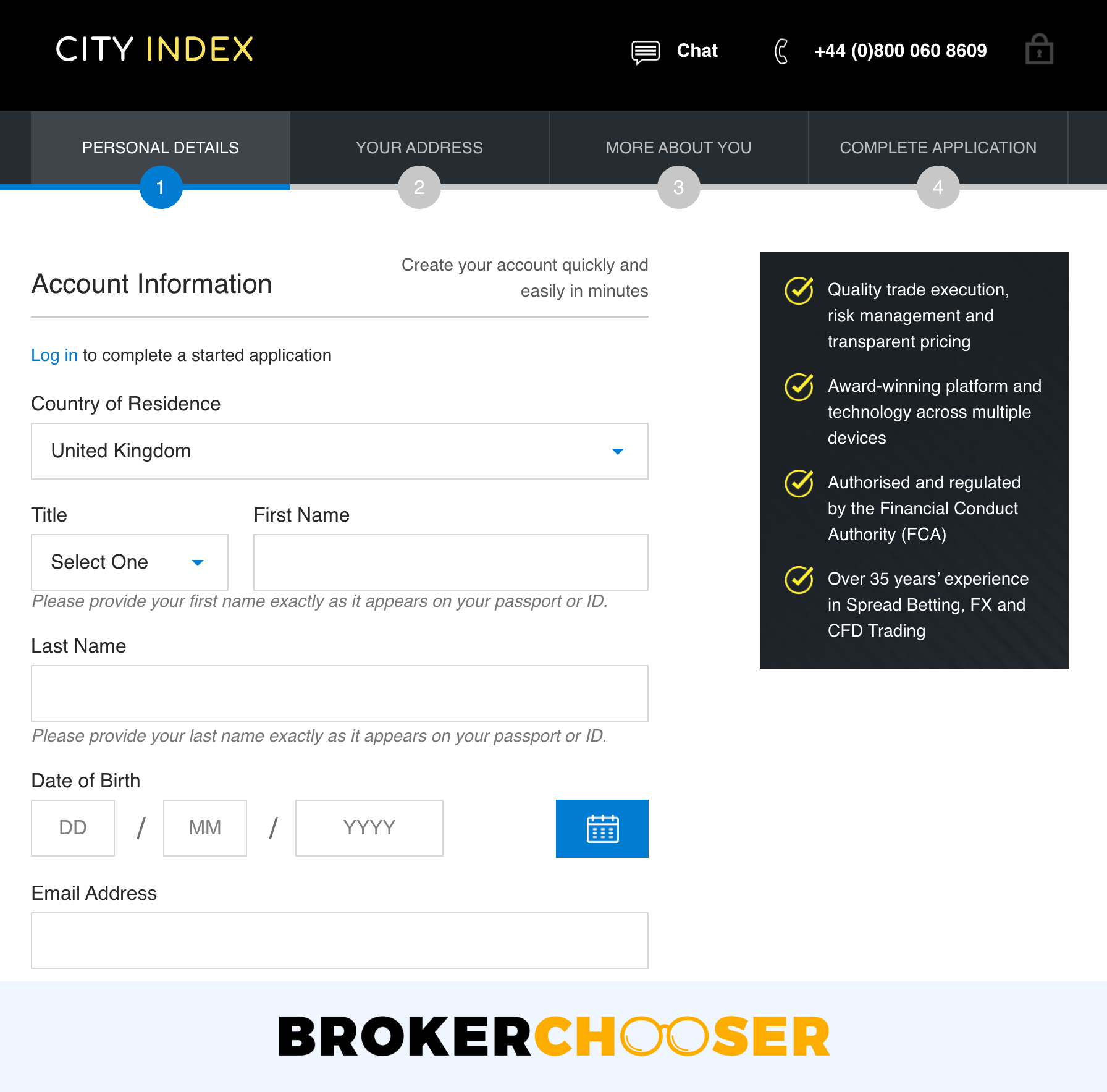 City Index review - Account opening