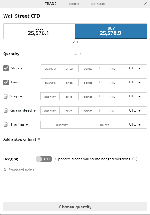 City Index review - Web trading platform - Order panel