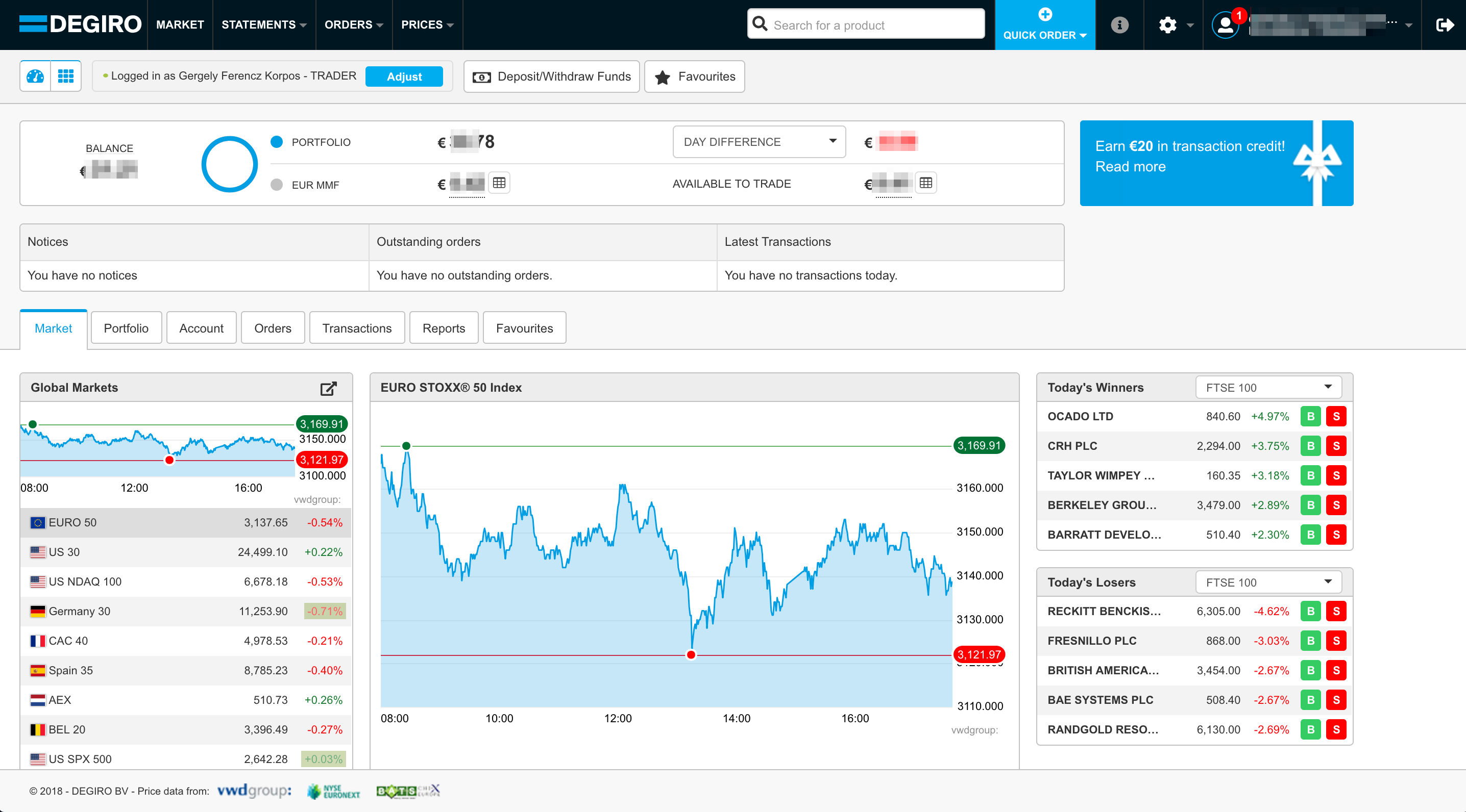 Web trading platform of DEGIRO, a Swissquote alternative