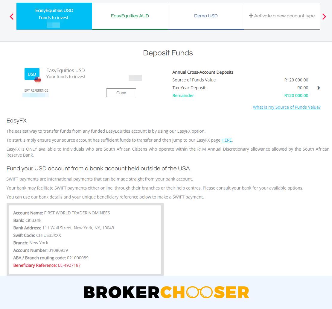 EasyEquities review - Deposit and withdrawal - Deposit