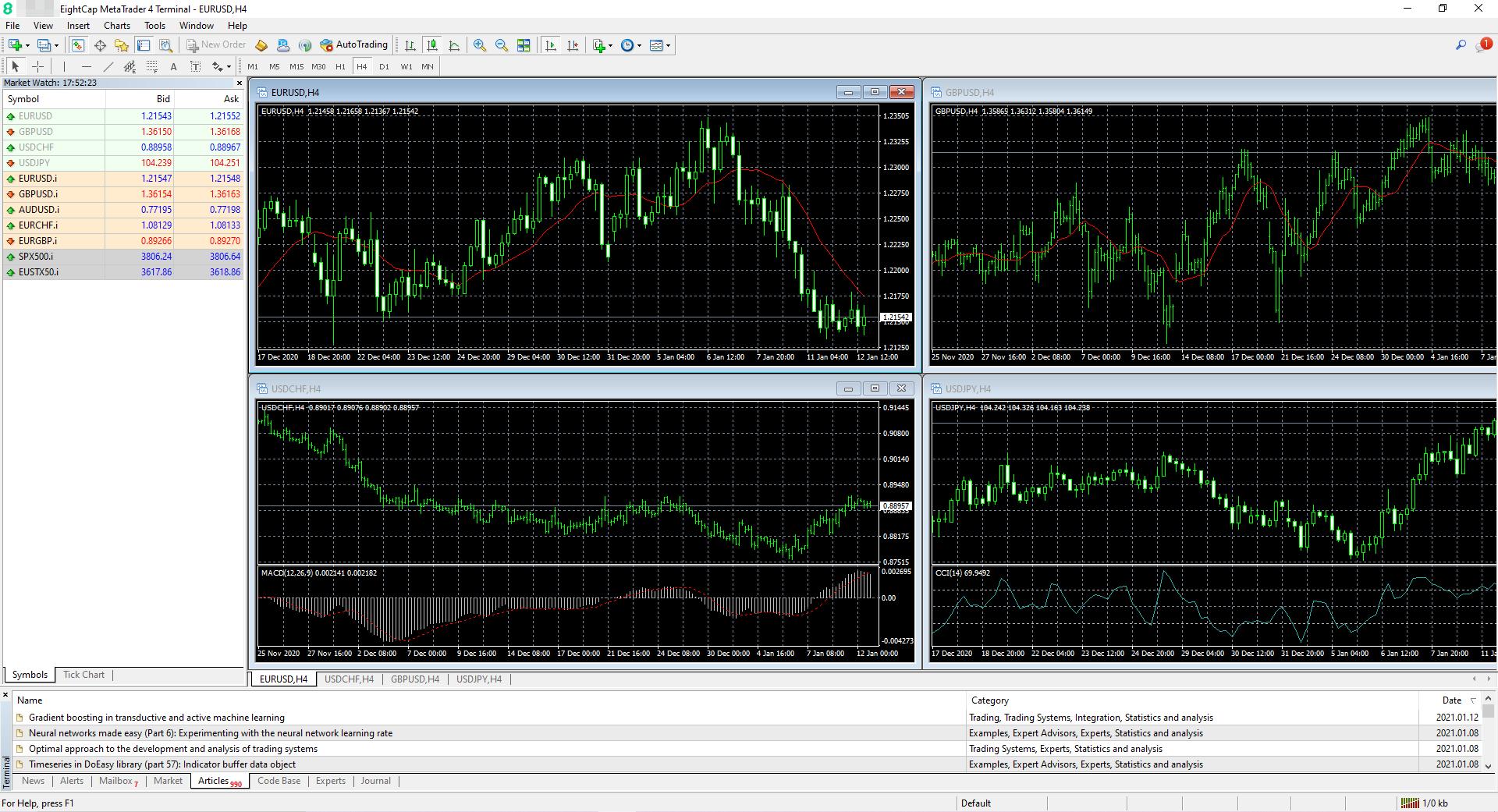 Eightcap review - Desktop trading platform