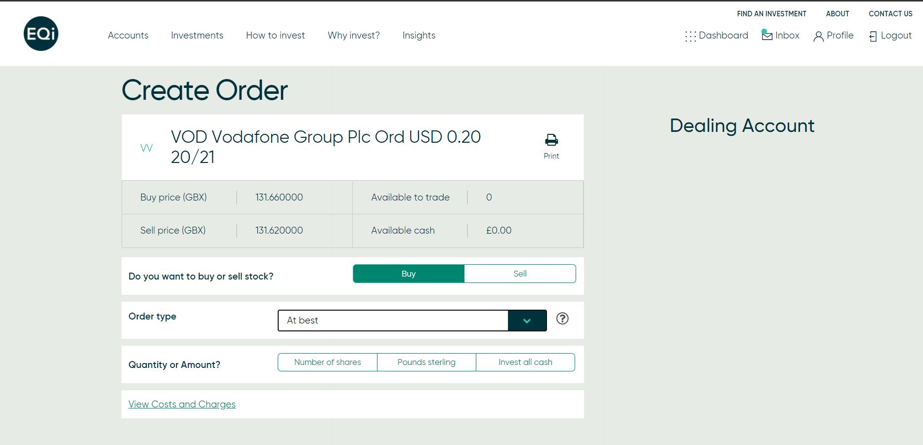 EQi review - Web trading platform - Order panel