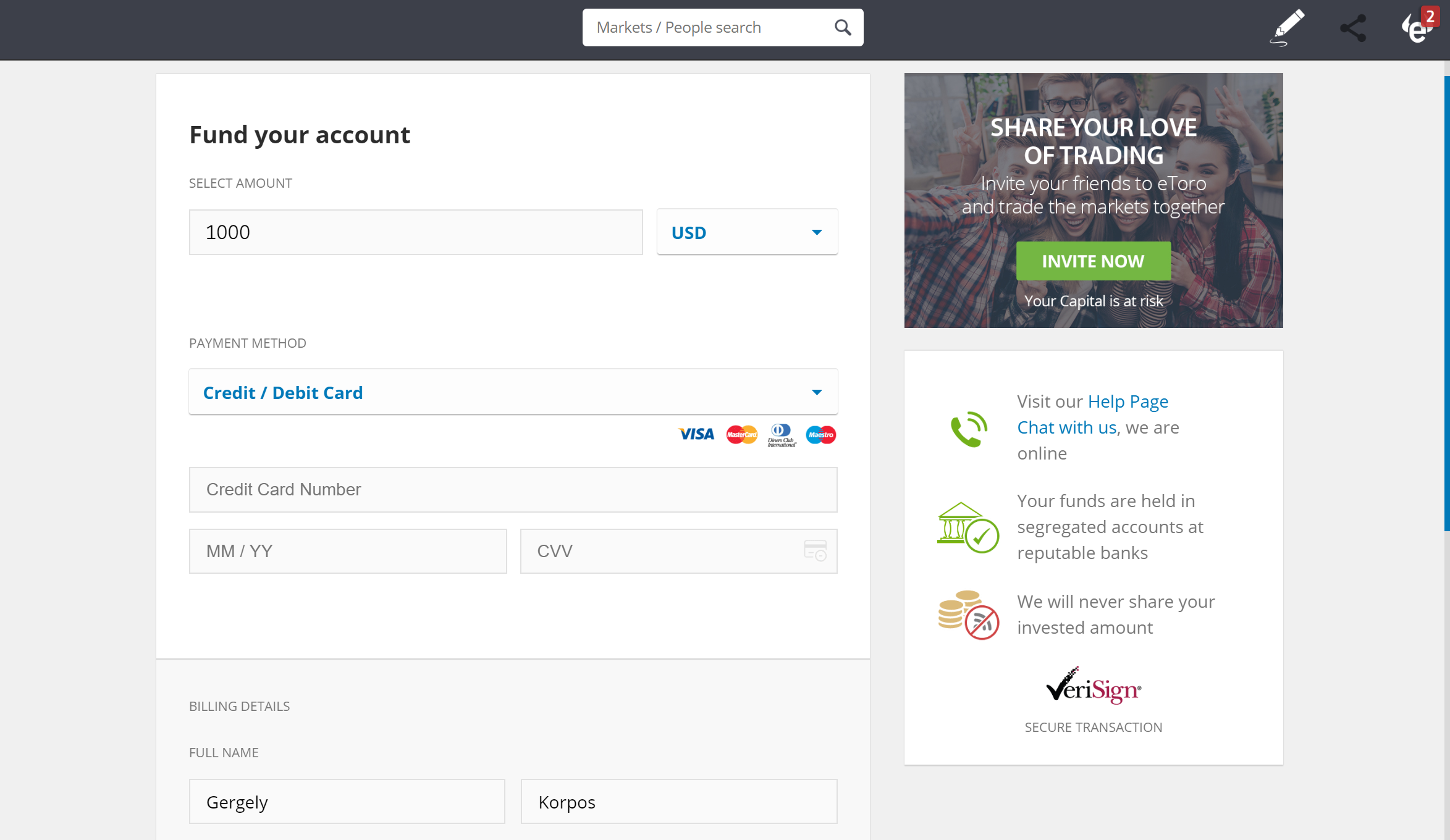 The interface to send the minimum deposit to eToro