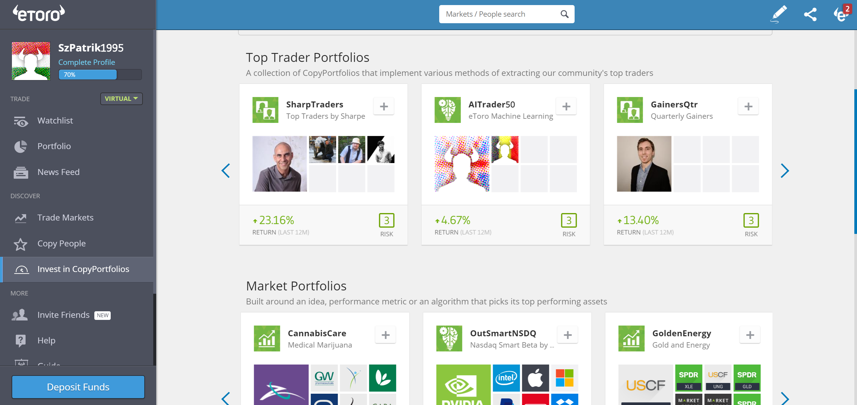 Etoro review - Markets and products - copy funds