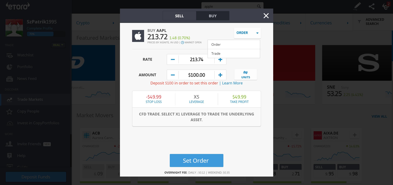 Etoro review - Web trading platform - Order panel