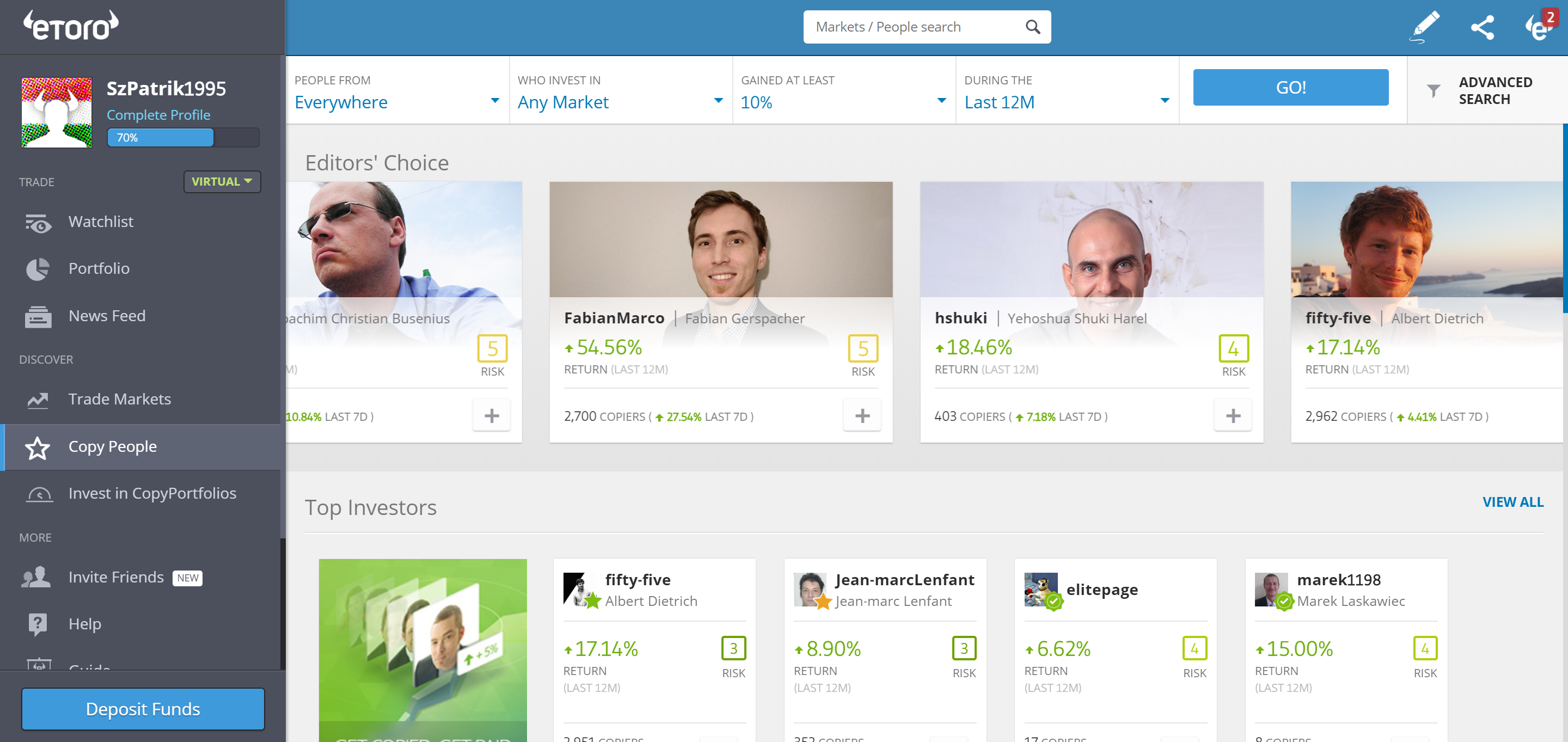 Etoro review - Markets and products - copy trading