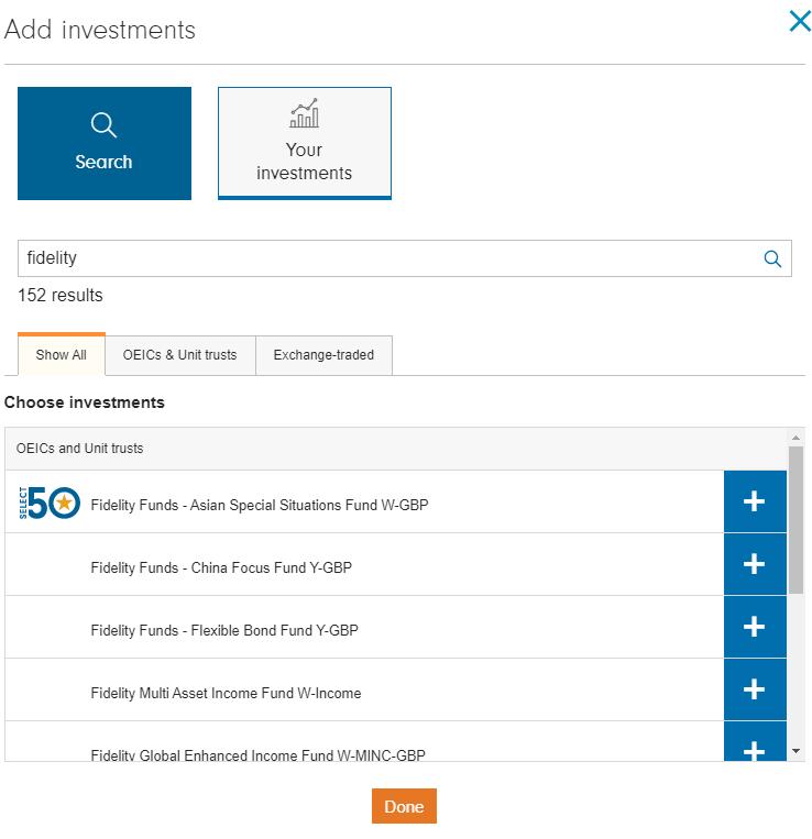 Fidelity International review - Web trading platform - Search
