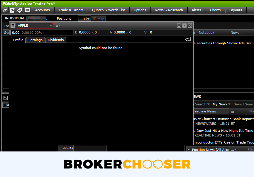 Fidelity review - Desktop trading platform - Search
