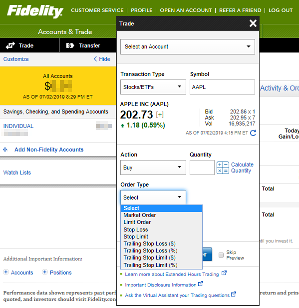 Fidelity review - Web trading platform - Order panel