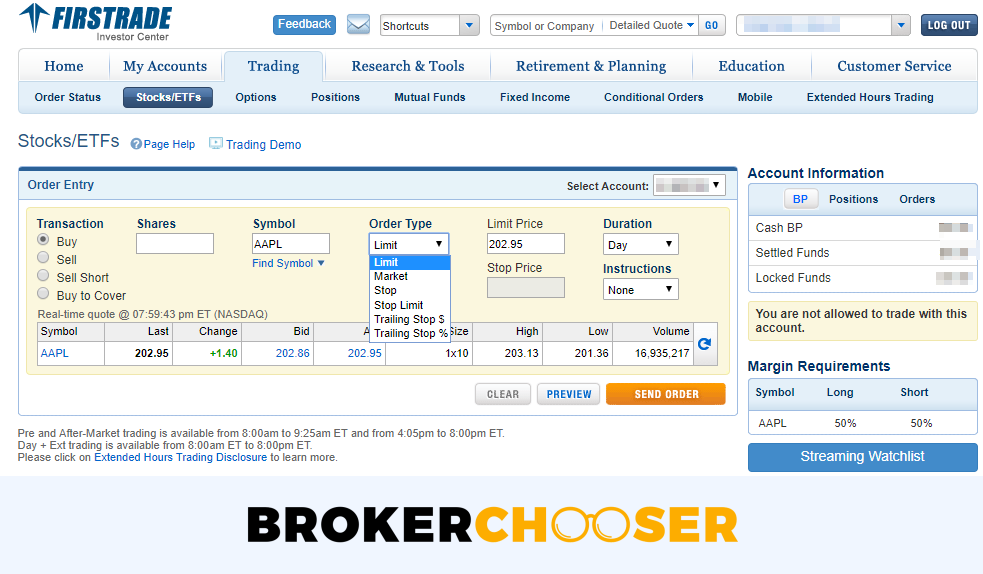 Firstrade review - Web trading platform - Order panel