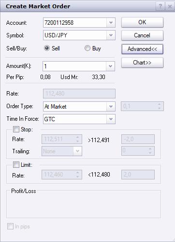 FXCM review - Desktop trading platform - Order panel