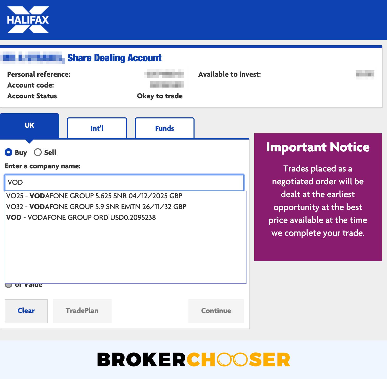 Halifax review - Web trading platform - Search