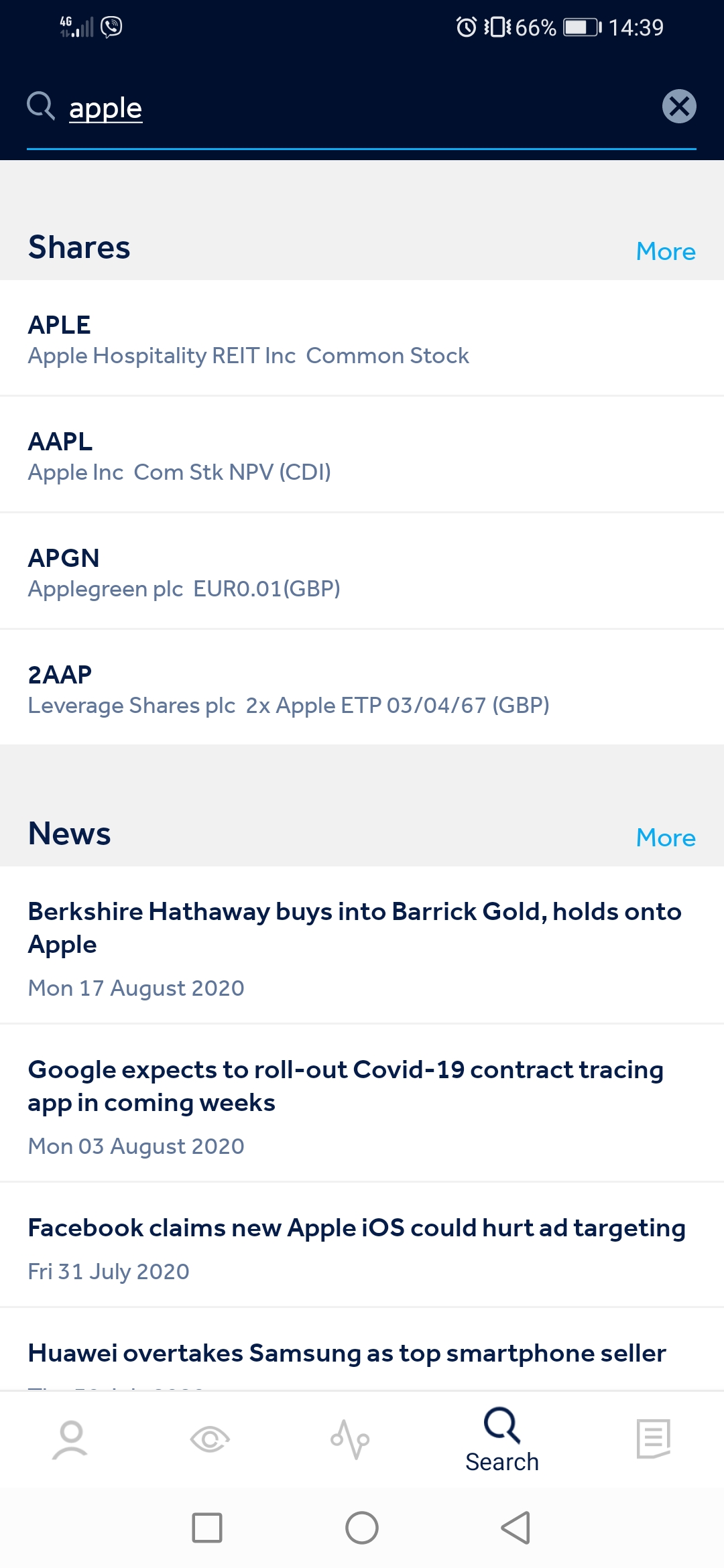 Hargreaves Lansdown review - Mobile trading platform - Search
