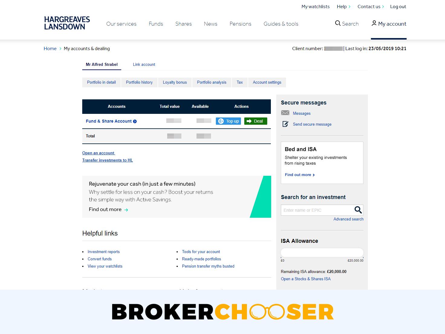 Hargreaves Lansdown - Web trading platform