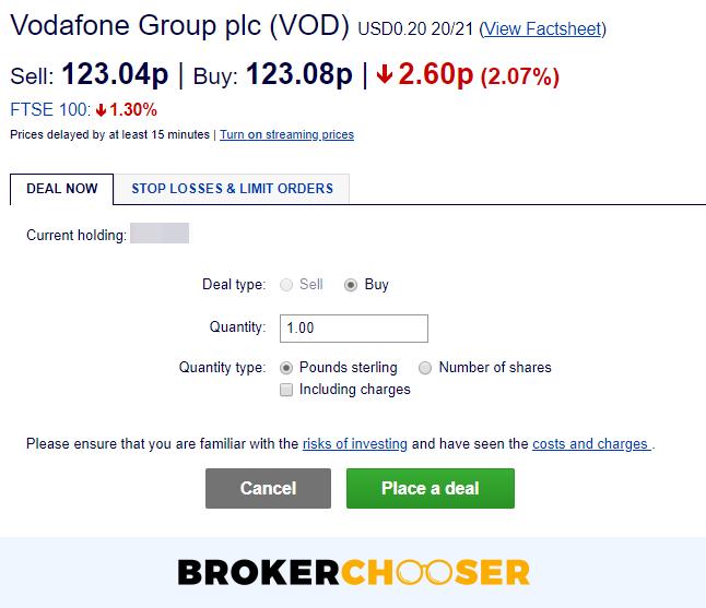 Hargreaves Lansdown review - Web trading platform - Order panel