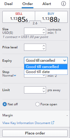 IG review - Web trading platform - Order panel